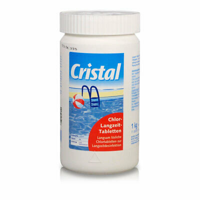 1,0 kg Chlor Langzeittabletten 200g CRISTAL - Maxi Chlortabs Pool Schwimmbad