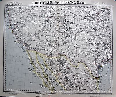 1883 Antique Map-United States,west & Mexico, North