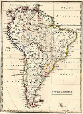 1848 Ca ANTIQUE  MAP-H/COL- SOUTH AMERICA