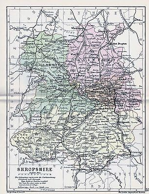 1889 Antique County Map Parliamentary Div. Shropshire