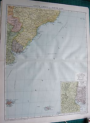 1919 Large Antique Map-South America-South East