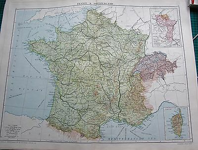 1919 Large Antique Map- France & Switzerland, Inset Corsica,alsace Lorraine