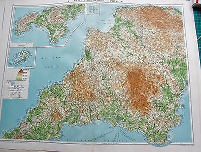 1919 Large Antique Map-Cornwall &  Devonshire-Physical