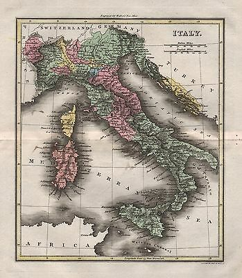 1816 Antique Map Walker Hand Coloured Italy