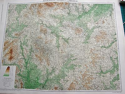 1919 Large Antique Map-Birmingham District-Physical