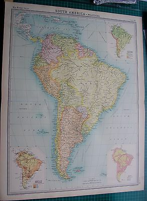 1922 Large Antique Map- South America-Political Map