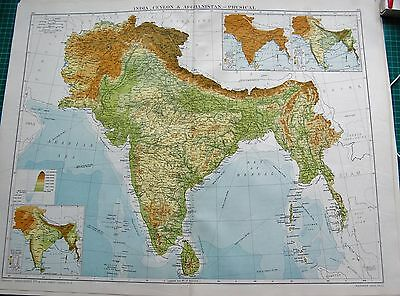 1919 Large Antique Map-India,ceylon, & Afghanistan-Physical, Inset Rainfall, Tem