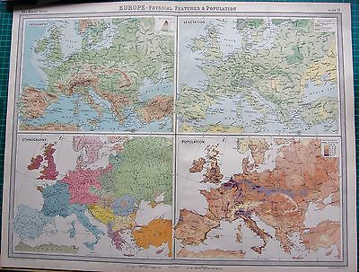1922 Large Antique Map- Europe, Orography,vegetation,races,populations
