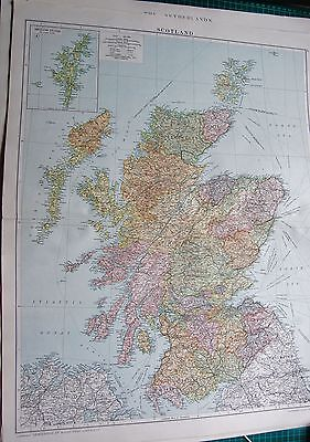 1919 Large Antique Map-Scotland,inset Shetland Isles