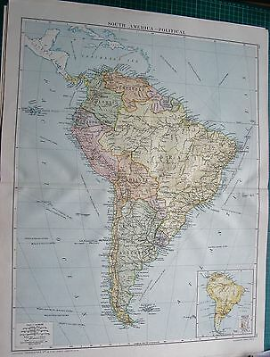 1919 Large Antique Map-South America-Political