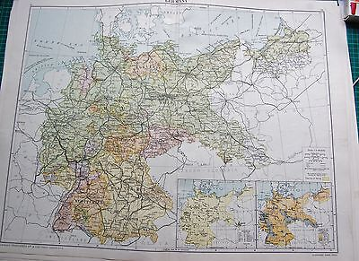 1919 Large Antique Map- Germany, Inset Minerals,population