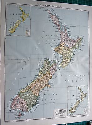 1919 Large Antique Map-New Zealand, Physical, Inset Vegetation,rainfall,temperat