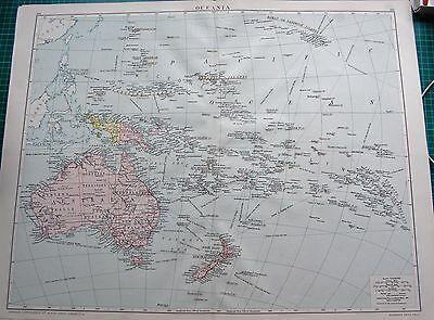 1919 Large Antique Map-Oceania, Australia,new Zealand,polynesia,micronesia