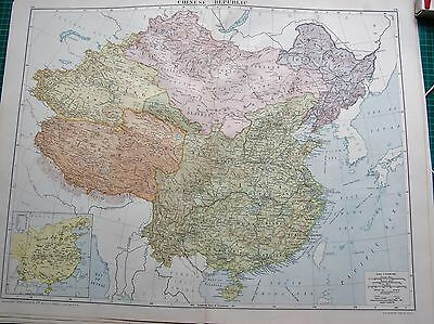 1919 Large Antique Map- Chinese Republic, Mongolia,sinkiang,tibet