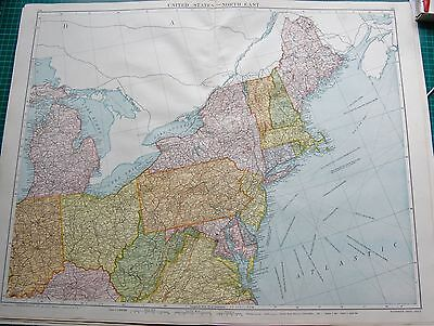 1919 Large Antique Map-United States North East