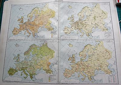 1919 Large Antique Map-Europe-Population,manufactures,vegetation,minerals, 4 Ima