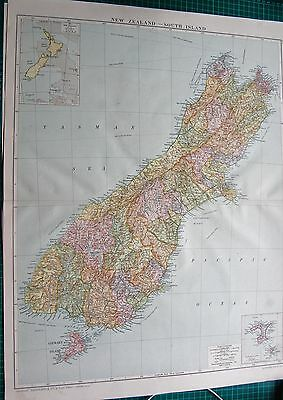 1919 Large Antique Map-New Zealand, South Island