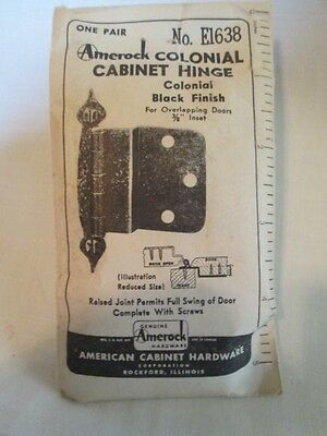 Vintage AMEROCK USA One Pair COLONIAL Cabinet HINGES Black E-1638 NEW