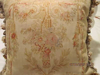 "Antique Pillow French Aubusson Tapestry, velvet back 21"" by 21"""