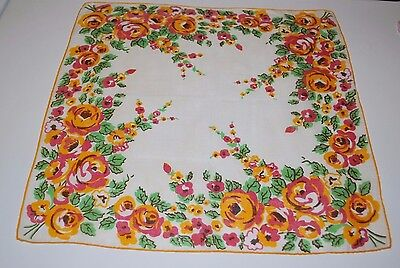 Vintage Hankie  Ivory, Pink and yellow  Solid Edge Cotton  14 x 14  Q234