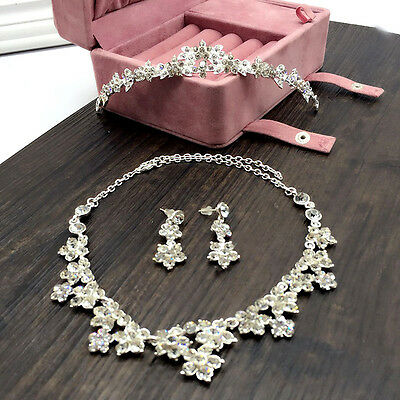 Bridal Crystal Necklace, Earrings and Tiara Set