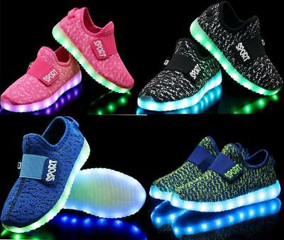 USB Charge LED Flash Light Up Kids Boys Girls Casual Trainers Sneakers Shoes