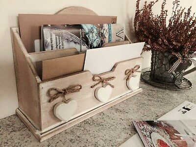 Wooden Letter Rack Post Desk Organiser Holder Hearts Shabby Vintage Style