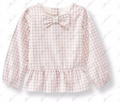 NWOT Janie and Jack ESTATE STABLES Windowpane Peplum Top 12 18 M