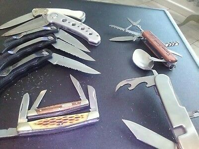 lot of  9. knives buck and no name generic brand tsa confiscated