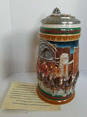 """1997 Budweiser Holiday Stein """"Home for the Holidays"""" Signature Edition CS313SE"""