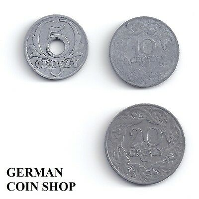 Germany Drittes Reich Generalgouvernement Polen Set 5, 10, 20 Groszy 1923, 1939