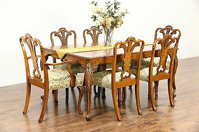 Dining Set, Table, 2 Leaves, 6 Chairs, 1940's Vintage Carved Olive Ash Burl