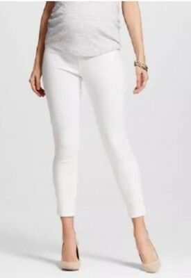 New Liz Lange Maternity White Over the Belly Skinny Denim Ankle Pants XS, S, XXL