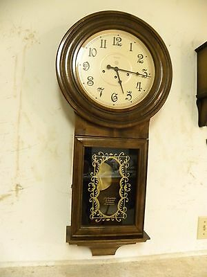 Vintage Ansonia Long Drop Regulator Wall Clock With Westminster Chime Runs Fine