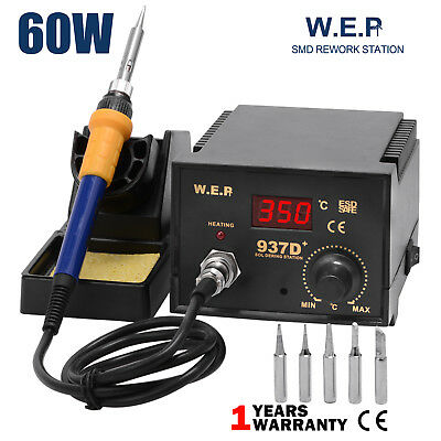 60W Genuine WEP Soldering Iron Station Weld 6 Tips Stand Kit Digital Display