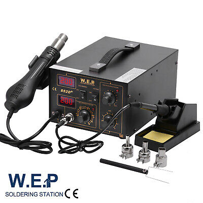 WEP 2in1 Soldering Iron Rework Station Hot Air Gun Solder Welder Digital Display