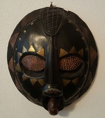 """Round Wooden African Wall Mask  12"""" X 10.50"""" X 3"""""""