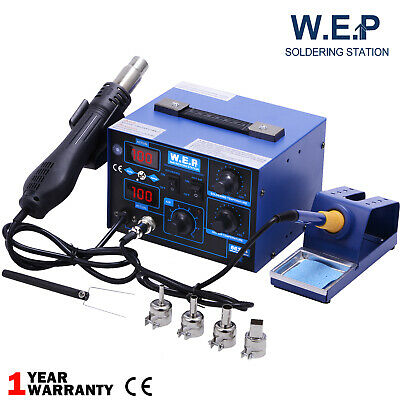 Genuine WEP 2 in 1 SMD Hot Air Gun Soldering Iron Station Rework Welder 4 Nozzle