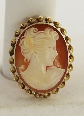 VINTAGE ESTATE Jewelry DETAILED RIGHT FACING LADY SHELL CAMEO PENDANT BROOCH