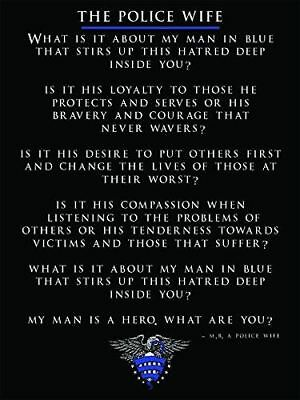 Police Wife Poster Police Wife Poem Police Gift 18x24