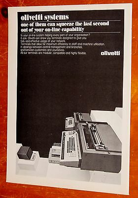 Cool 1972 Olivetti Office Systems & Machines Canadian Ad - Retro Computer 70S