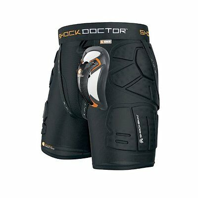 Shock Doctor Shockskin Lax Relaxed Fit Protective Impact Short Black Boy's Large