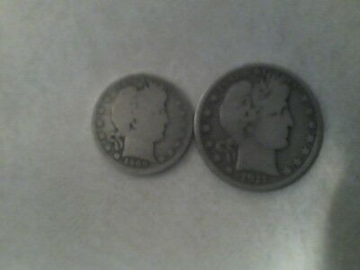 Two Coin Lot ( 1911 Barber-D 50 Cent Piece) (1909 Barber -P 25 Cent Piece)