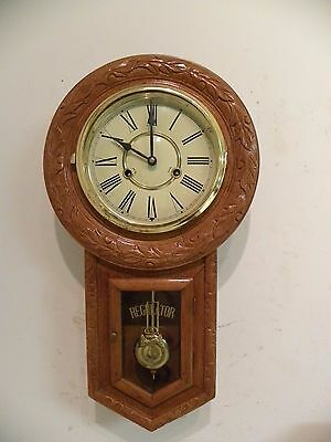 Vintage Fine Oak Wall Clock With Lots Of Carvings. Clean And Running Fine