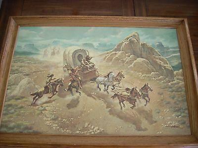 T Morman signed Western oil painting - Covered wagon under attack