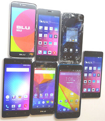 Lot of 7 BLU GSM Unlocked Smartphones Mixed Models Good LCD 5 Dual Sims AS-IS #