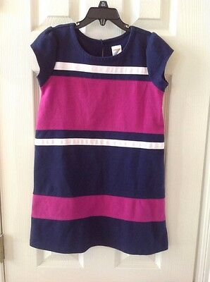 Gymboree Girls Short Sleeve Dress Tunic Navy~Pink Size 7 EUC