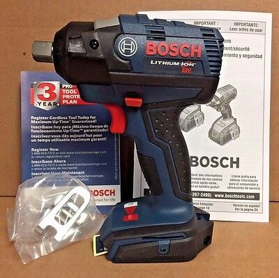 "Bosch 18V EC Brushless 1/2"" Pin Detent Impact Wrench (Bare) IWBH182B NEW IN BOX!"