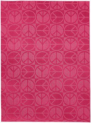 Garland Rug Large Peace Area Rug, 7-Feet 6-Inch by 9-Feet 6-Inch, Pink