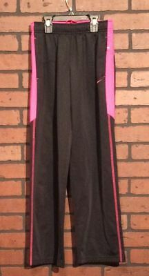 Nike Athletic Pants Black Large 100% Polyester Multicolor Elastic Girls